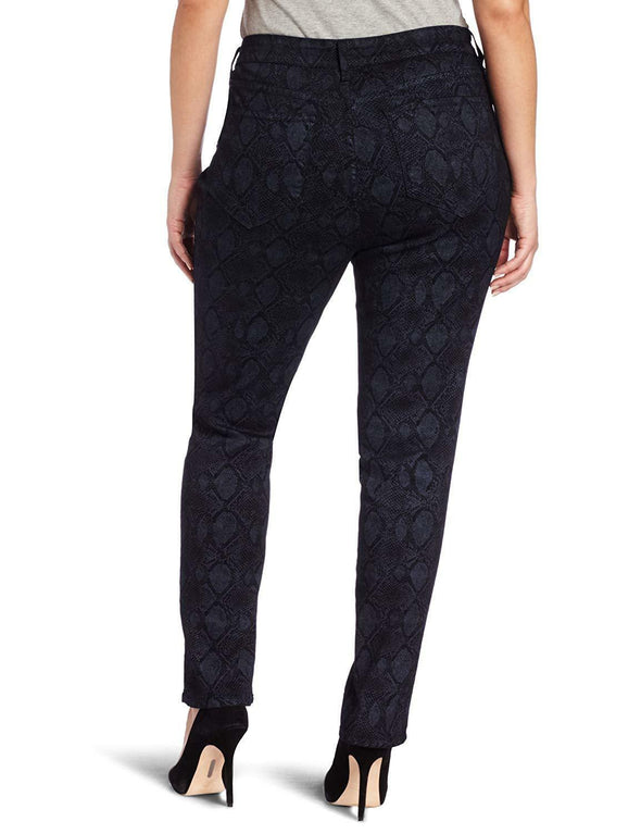 NYDJ Not Your Daughters Jeans Sheri Skinny Indigo Metallic Snake Skin Women's Plus Size