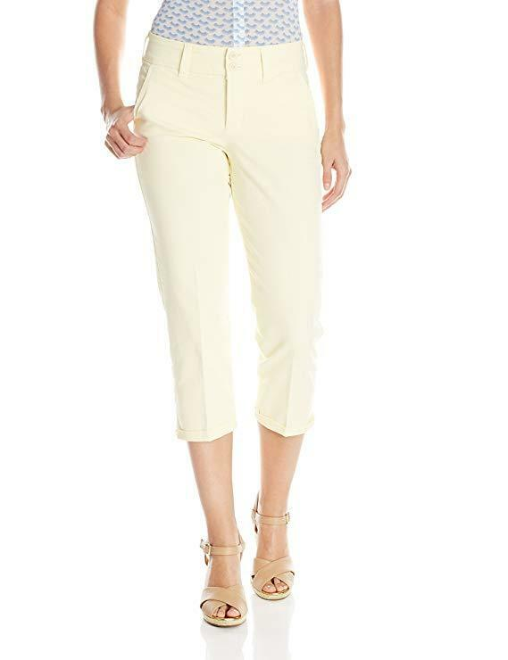 NYDJ Not Your Daughters Jeans Pale Lemon Rhinestone Rive Capri Women's Petite