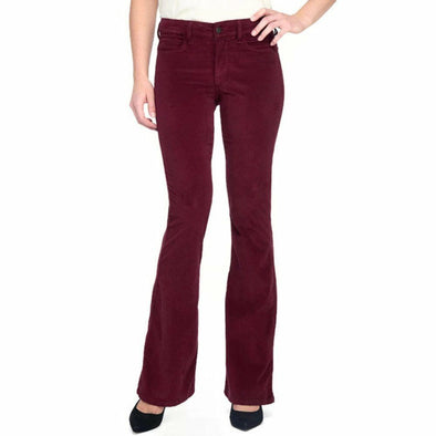 POINSETTIA RED Velveteen FLARE NYDJ $134 Not Your Daughters Jeans