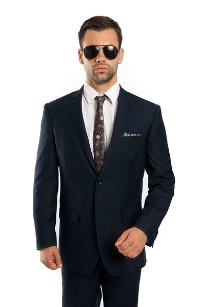 Demantie 2 Pc Platinum NAVY PINSTRIPED Men's Wool Suit Size 42R 36W