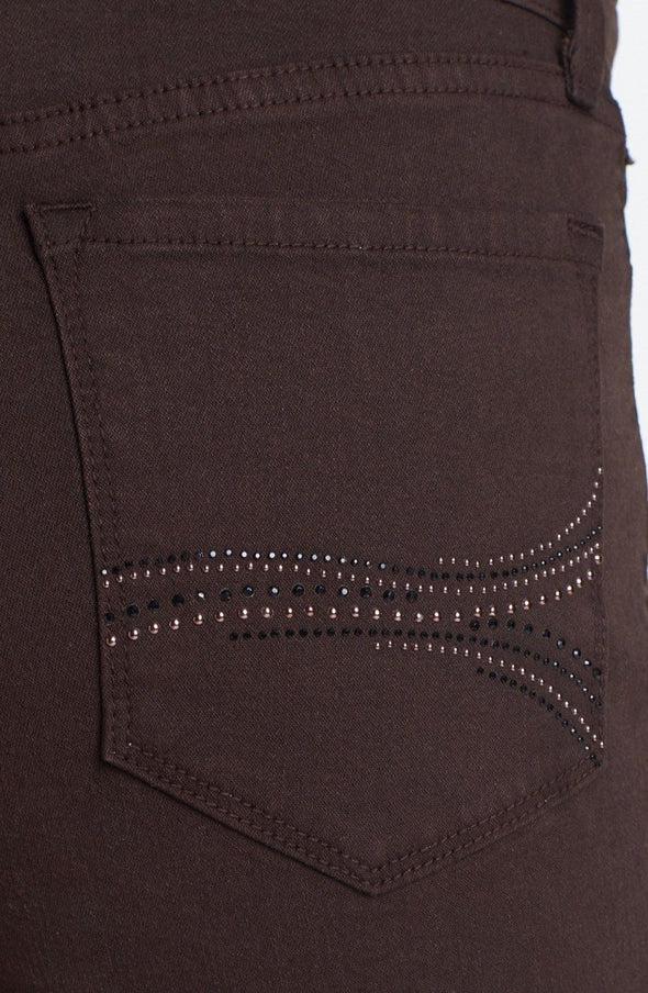 NYDJ Not Your Daughters Jeans GANACHE Rhinestone Pocket Straight Leg Petite