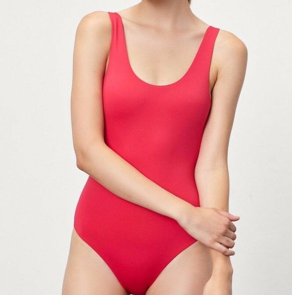 Onia Kelly Scoop Neck One Piece Lined Bathing Suit CAYENNE