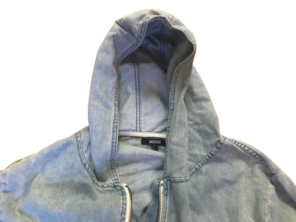 JACKSON Light Indigo Men's Oversized Denim JEAN JACKET with HOOD