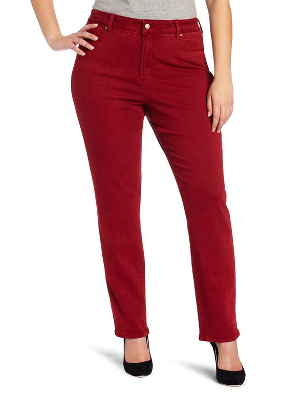 NYDJ Not Your Daughters Jeans Sheri RED SHATTERED WASH Skinny Plus Size Women's Pants