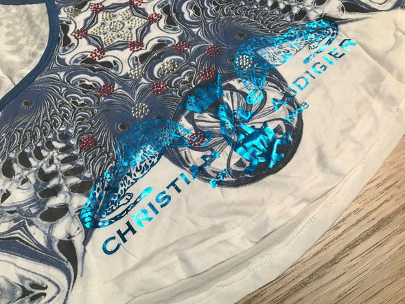 Christian Audigier Women's Kaleidoscope Tiger BLUE SCOOP TANK TOP