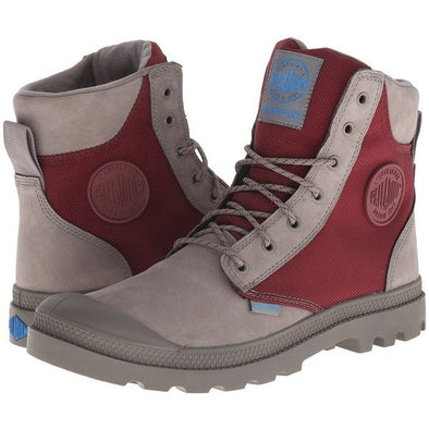 Palladium Pampa Sport Cuff WPN Unisex Leather & Mesh Boots in Moss Gray/Burgundy