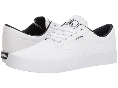 Supra Cobalt Men's White-White Low Top Canvas Skate Sneakers