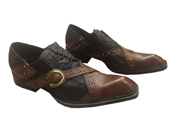 Fiesso by Aurelio Garcia Men's FI-6413 Brown Studs Genuine Leather Loafers