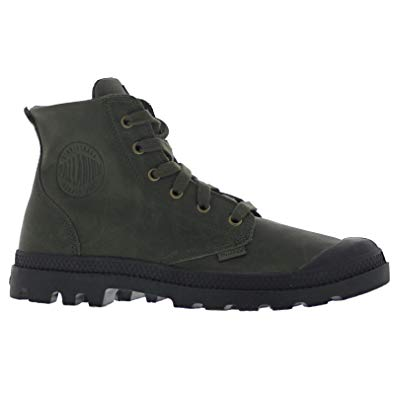 PALLADIUM Pampa Hi Leather Men's Lace Up Combat Ankle Chukka Boots in Army Green