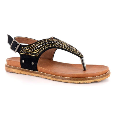 BOUTIQUE by Corkys Layla Women's Faux Suede Studded Sandals in Black or Taupe