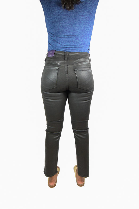 NYDJ Not Your Daughters Jeans COATED CHARCOAL BLACK GYPSY Skinny Women's Petite Pants