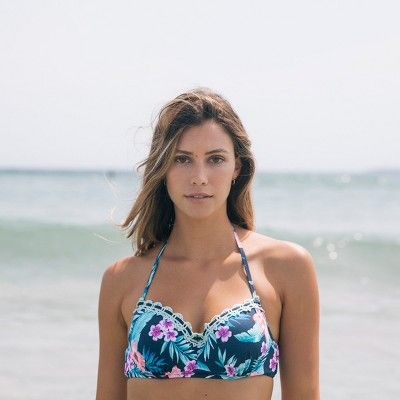 SHADE & SHORE Summer Navy Floral Bikini Top with Crocheted Accents Women's Size 36DD
