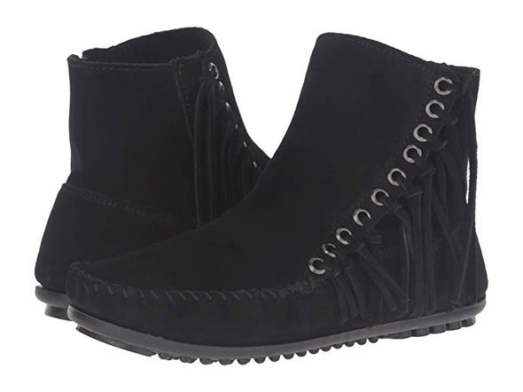 Minnetonka Women's Black Willow Fringe Boot #669