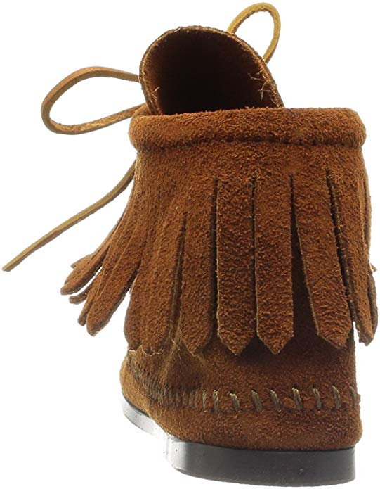 Minnetonka Women's Brown Classic Fringe Hard-Sole Boot #682