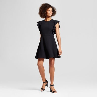 WHO WHAT WEAR Classic Little Black Dress with Ruffled Cap Sleeves
