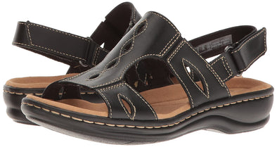 Clarks Collection Leisa Lakelyn Black Leather Comfort Sandals Women's Size 7.5