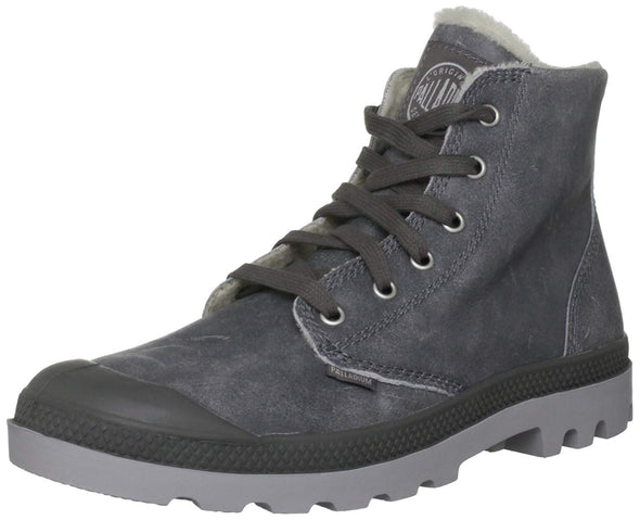 PALLADIUM Pampa Hi Leather Men's Lace Up Combat Ankle Chukka Boots in Gray/Black