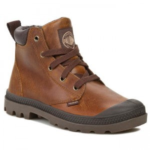 PALLADIUM Pampa Hi Cuff Lea Sunrise/Chocolate Men's Leather Lace Up Ankle Chukka Boots