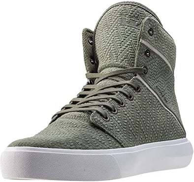 Supra Camino Men's Textured High Top Skate Boarding Sneakers in Olive-White