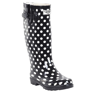 Forever Young Women's Polka-Dot Print Rubber Rain Boots Size 11 M