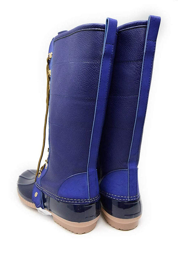 Charming Faux Leather Below Knee Rain Boots Navy w/ Gold Grommets B778