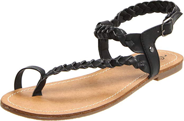 Kenneth Cole Unlisted Women's POP ART BN Flat BLACK Sandals Size 8.5 M