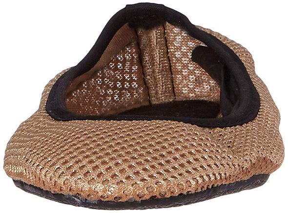Sidekicks Mesh Foldable Ballerina Slip-On Cream & Black Flats Size Medium
