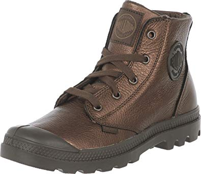 PALLADIUM Pampa Hi Metallic Women's Leather Combat Boots in Dark Copper/Chocolate