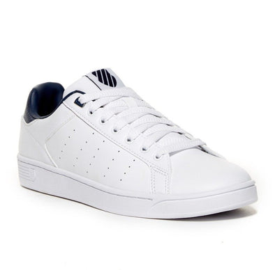 K SWISS Clean Court CMF Men's Leather Low Top Tennis Shoes in White/Insignia Blue