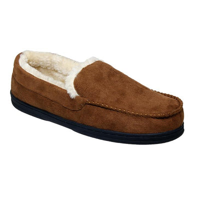 P&W New York Plush Brown Fur Lined Winter Moccasin Slippers Men's Size XL