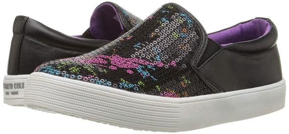 Kenneth Cole REACTION Kids' Kam Paint Slip-On Black Sequin Flourescent Sz 4