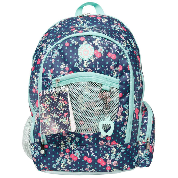 "Double Dutch Club 18"" Floral Print Backpack, Blue - Polyester"