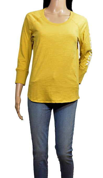 James Perse Mustard Yellow California 3/4 Long Sleeve T-Shirt