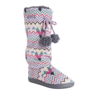 MUK LUKS Women's Gloria Tall Slippers Vanilla Multi Print Warm & Cozy Size M