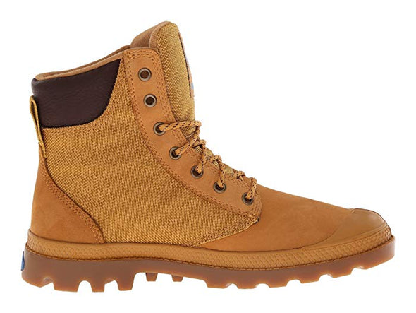 Palladium Pampa Sport Cuff WPN Unisex Leather Ankle Hiking Combat Boots in Amber Gold/Mid Gum