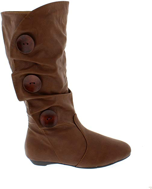 SHOES OF SOUL L3980 Tan Faux Leather Below Knee Boots Women's Size 10