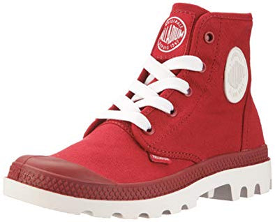 PALLADIUM Blanc Hi Unisex Canvas High Top Lace-Up Ankle Boots in Rio Red/White