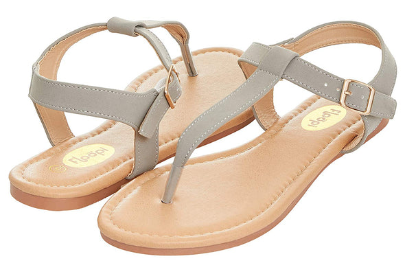 Floopi Womens Summer Flat Sandals T-Strap Thong Buckle Ankle Strap Sandal (6, Grey-509)