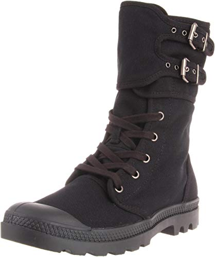 PALLADIUM Pampa Peloton Women's Black Buckle Decorative Combat Boots