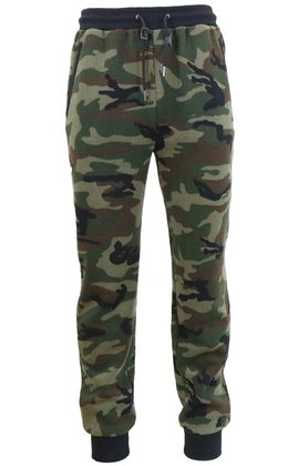 Galaxy by Harvic Men's Slim Fit Fleece Jogger Pants in Woodland Camouflage