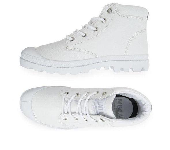 Palladium Pampa Lo Cuff Leather Women's White Ankle Hiking Combat Boots