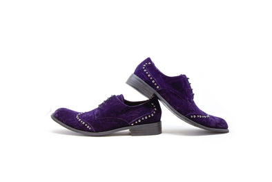 Fiesso by Aurelio Garcia Purple Studs Velvet Men's Dress Shoes Size 9