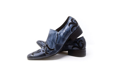 Fiesso by Aurelio Garcia FI-8055 Men's Wrinkled Leather Blue Design Loafer