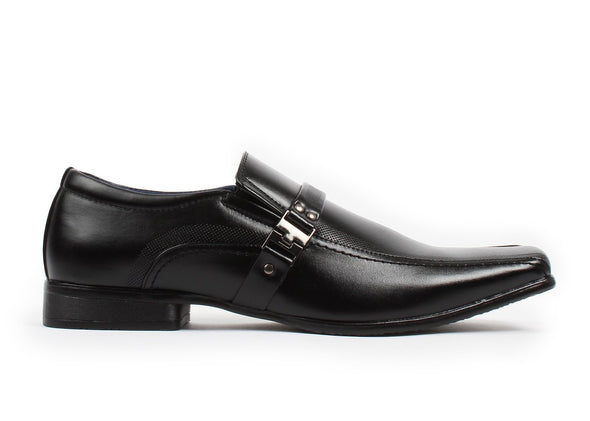 Bonafini Black Leather Lined Dress Loafer w/ Buckle Accents Men's Size 10