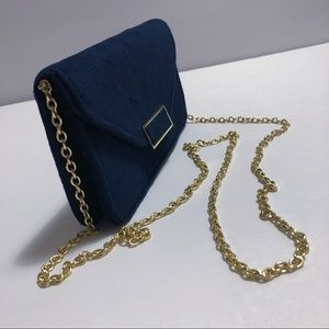 "A New Day Navy Faux Suede Crossbody Clutch 7"" Purse Handbag Gold Strap w/ DL Slot"