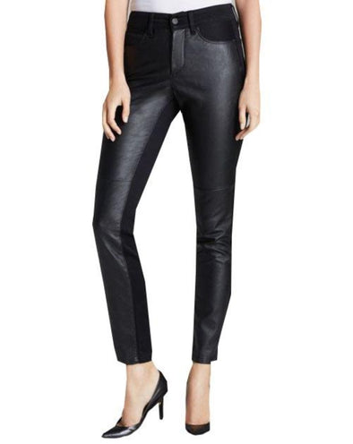 NYDJ Not Your Daughters Jeans ALINA BLACK Leggings FAUX LEATHER FRONT