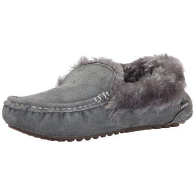 Lamo Aussie Moc Faux Fur Collar Charcoal Grey Moccasin Suede Rubber Sole
