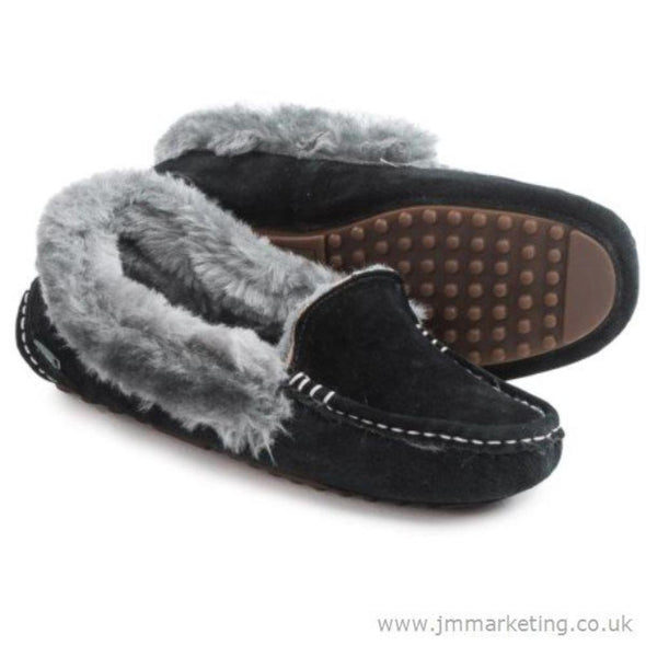 Lamo Aussie Moc Faux Fur Collar Black With Grey Cuff Women's Moccasin Suede Rubber Sole