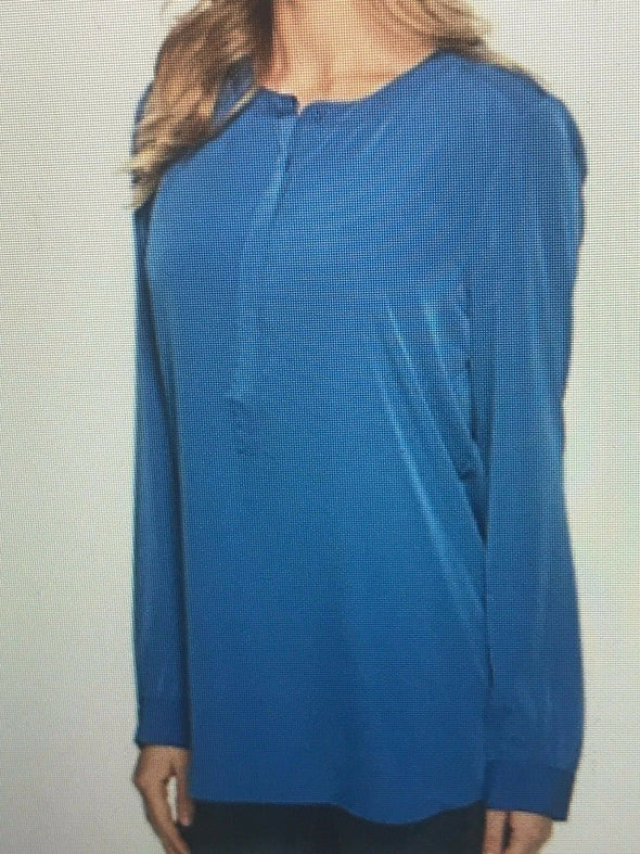 NYDJ Not Your Daughters Jeans Azul Blue Tunic Petite Long Sleeve Button Cuff