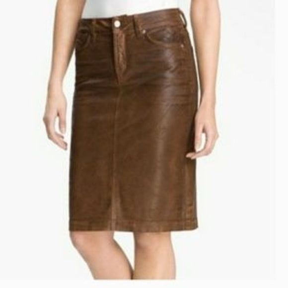 NYDJ Not Your Daughters Jeans Dark Brown Beat Leather Pencil Skirt Sz 6
